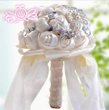 돌 (꿈 100087)를 가진 새틴 화이트 또는 Champagne 로즈 꽃 신부 결혼식 꽃다발