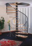 純木のステップ螺旋階段