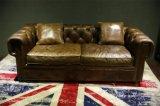 Sofà superiore europeo del cuoio di grano con il blocco per grafici di legno solido/sofà reale classico