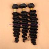 8A人間の毛髪の織り方絹の基礎閉鎖が付いている絹の基礎閉鎖のバージンの毛を搭載するインドの深い波3束の