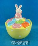 Frasco Hand-Painted cerâmico do armazenamento do coelho de Easter