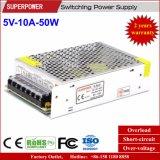 alimentazione elettrica di commutazione di 5V 10A 50W per lo schermo di visualizzazione del LED