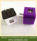 Hot Selling Us Folding Plug Dual USB carregador móvel sem fio com 5V 2A para iPhone Samsung Table PC