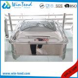 Rouleau de luxe électrolytique en acier inoxydable haut couvercle en verre plat carré frottement à la vente avec support de carburant