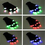 LED illuminato sui guanti infiammanti d'ardore della punta delle dita di rave