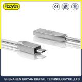 移動式充電器のための金属のばねUSBの充満ケーブル