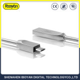 Cabo de carregamento USB da mola de metal para carregador de telemóvel