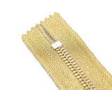 Zipper do metal com o extrator amarelo da fita e do círculo/qualidade superior