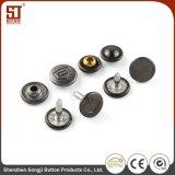 Acessórios de vestuário de metal redonda individuais da pronga Botão de encaixe para calças