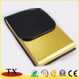 Negocios Cardcase de cuero de forma rectangular con cubierta de metal y cuero Nombre Titular