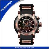 Montre multifonctionnelle de chronographe de quartz avec la bande de silicones