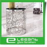 De ronde ZijLijst van het Roestvrij staal met de Aangemaakte Bovenkant van het Glas
