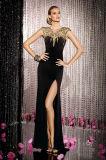 Du côté de perles de cristal coloré Split jupe mousseline de soie noire de soirée robe de bal