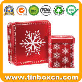 Rectángulo cuadrado grande del estaño del almacenaje de la Navidad para el empaquetado del regalo del metal