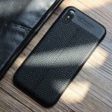 Tampa da caixa do telefone do couro do teste padrão do Litchi para o iPhone X