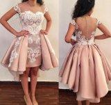Cocktail Prom vestidos curto acetinado Lace Baile vestido de noite Ld15267