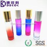botella azul de cristal 10ml bola de rodillo de cristal rosada de 1/3 onza botellas de cristal del rodillo de 10 ml con la bola de metal