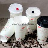 Taza de café de papel de un sólo recinto inferior de la alta calidad 8oz del beneficio con la tapa plástica