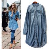 Датские заказы к типу вскользь мягкому длиннему Cowboyshirt волокна 70% Lysel классицистическому куртки джинсовой ткани