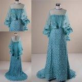 Новые моды голубой кружевной партии Платье вечернее платье с Шаль