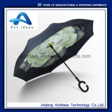 De Prmotional Omgekeerde Paraplu van de Laag van het Handvat van de Paraplu C Dubbele Wind Handsfree Omgekeerde Omgekeerde