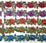 Fabrico Multicolor Estilo Nacional Bordados Rendas de flor em 3D