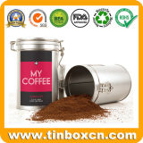 Estanho redondo do café do metal da caixa do empacotamento de alimento com tampa hermética