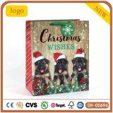 크리스마스 3 귀여운 작은 개자리 검정 종이 봉지, 선물 종이 봉지