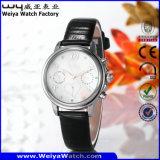 Relógio de pulso ocasional das senhoras de quartzo da cinta de couro da forma (Wy-078E)