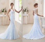 Blaue Spitze-Brautabend-Kleid-Nixe-Hochzeits-Kleid H1815