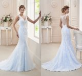 Платье венчания H1815 Mermaid мантии вечера голубого шнурка Bridal