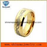 Anillo del tungsteno del laser del chapado en oro de la alta calidad de la joyería de la manera (TSTG004)