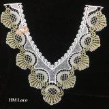 garniture de lacet de collier de frange crantée par forme de v de 31*34cm avec la broderie en soie Hme948 de lait d'or