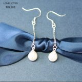 Monili d'acqua dolce lunghi d'argento di goccia degli orecchini della perla di modo (joyas di amore)