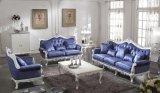 Pittura bianca di legno solido 0036 con il sofà classico del tessuto della decorazione d'argento