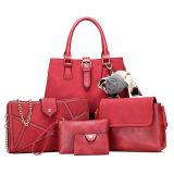 Neues Modell-Form-Großverkauf PU-Frauen-Handtasche 5PCS in 1 gesetztem Beutel der Dame-Tote mit dekorativer Pelz-Kugel Sy8570