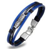 Braccialetto Braided Pulseiras Masculina del cuoio genuino del braccialetto degli uomini dei monili di personalità del retro della lega cuoio blu dell'inarcamento