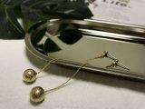 발렌타인의 선물 고품질 버전 금에 의하여 도금되는 금관 악기 여성 원형 Eardrop