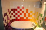 Luz amarilla 6X6 pulgadas/15x15cm brillante de la pared de cerámica esmaltada azulejo Metro baño cocina Decoración