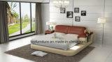 Mobiliário de luxo americano dormitório cama de couro com LED
