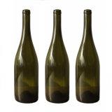 750ml旧式で明確な緑ガラスの赤ワインのびん