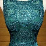 Платье вечера шнурка павлина голубое отбортовывая