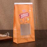 팝콘 견과를 위한 Windows를 가진 브라운 Kraft 종이 봉지를 인쇄하는 로고