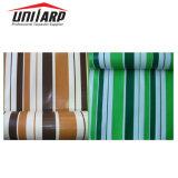 Laminado a frio populares Leve cor de PVC Lona de poliéster tecido listrado