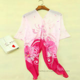 Kimono stampato chiffon della spiaggia del poliestere sottile (Hz96)