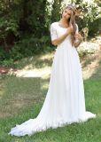 2018 robes de soirée nuptiales de mariage de robes de plage Chiffon de lacet Z1036