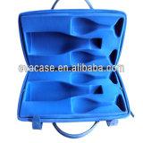 Cassa di cuoio blu della bottiglia di vino dell'intarsio della gomma piuma dell'unità di elaborazione EVA