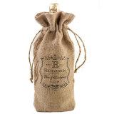 La mode Custom seule bouteille de vin sacs de jute cadeau avec coulisse corde