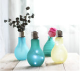 Vidros coloridos vaso com decoração de luz LED