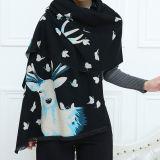 Da sensação macia da caxemira das mulheres o xaile semelhante da estola da impressão dos cervos envolve o lenço (SP282)